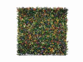 Panneau de fleurs artificielles Buxus multicolore - 50x50 cm
