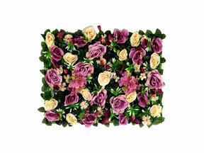 Panneau de fleurs artificielles Rose et Hortensia - 40x60 cm