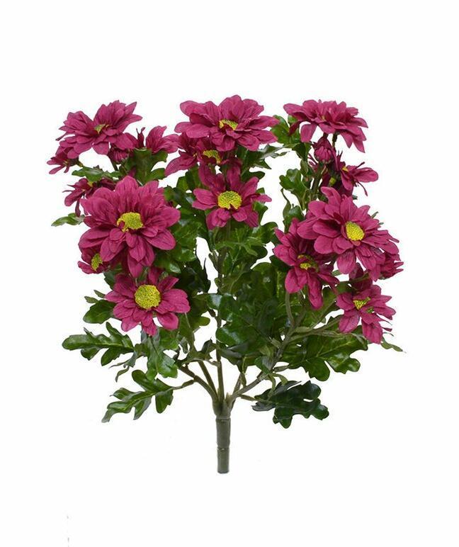 Plante artificielle Chrysanthème rouge-bordeaux 35 cm