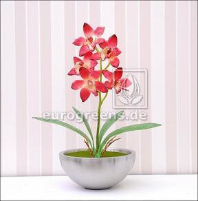 Plante artificielle Orchidea Cymbidium rouge bordeaux 50 cm