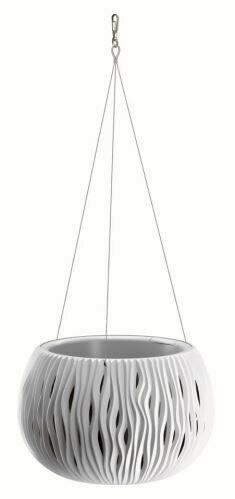 Pot de fleurs avec insert et acier. câble SANDY BOWL WS blanc 23,8 cm