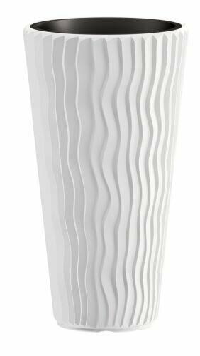 Pot de fleurs SANDY SLIM + insert blanc 39 cm